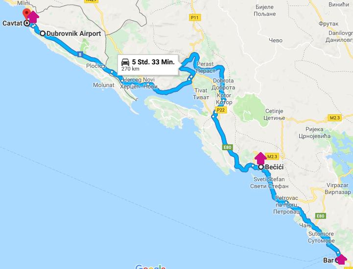 Reiseroute Montenegro mit Kind